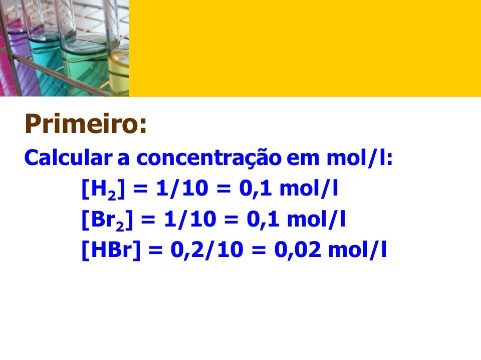 Primeiro: Calcular a concentração em mol/l: [H2] = 1/10 = 0,1 mol/l.